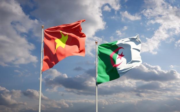 Schöne nationalflaggen gegen den himmel