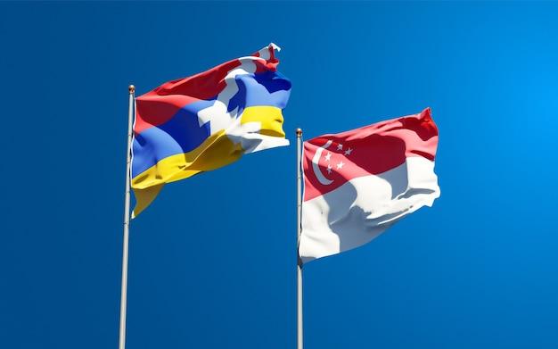 Schöne nationalflaggen von singapur und artsakh