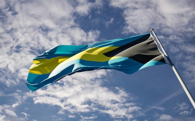 Schöne nationalstaatsflagge der bahamas, die am himmel flattern