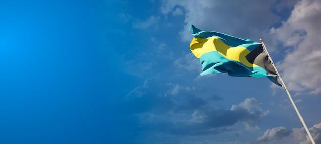 Schöne nationalstaatsflagge von bahamas mit leerzeichen. bahamas flagge mit platz für text 3d-grafik.