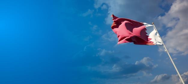 Schöne nationalstaatsflagge von katar auf blauem himmel