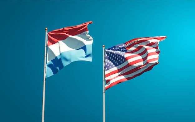 Schöne nationalstaatsflaggen der niederlande und der usa zusammen