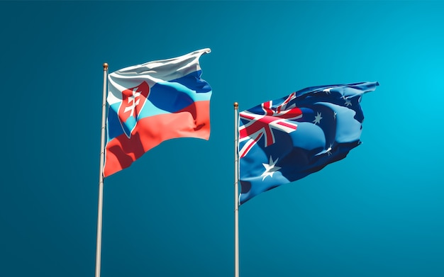 Schöne nationalstaatsflaggen der slowakei und australiens zusammen