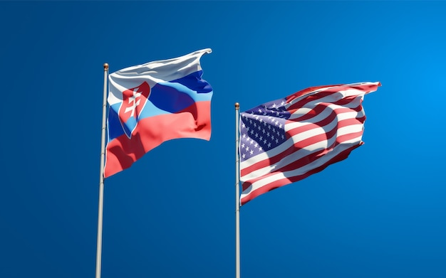 Schöne nationalstaatsflaggen der slowakei und der usa zusammen