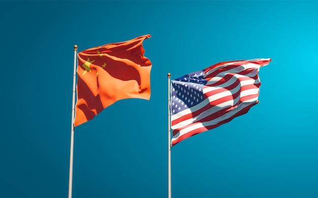 Schöne nationalstaatsflaggen der usa und chinas zusammen