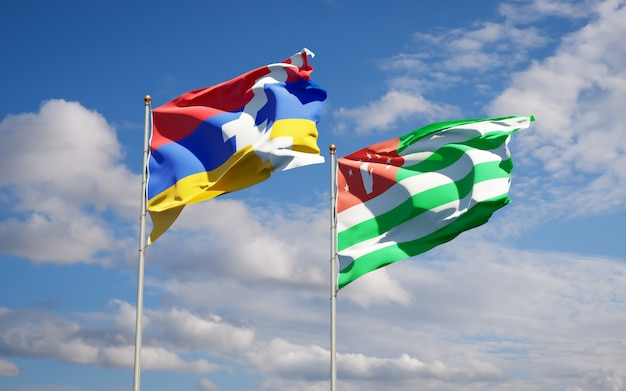 Schöne nationalstaatsflaggen von abchasien und artsakh zusammen