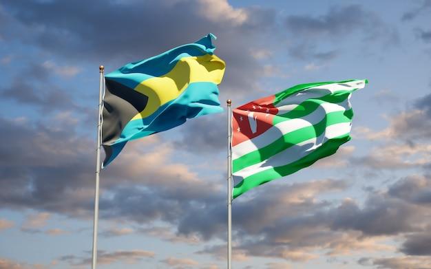 Schöne nationalstaatsflaggen von abchasien und bahamas zusammen