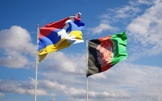 Schöne nationalstaatsflaggen von afghanistan und artsakh
