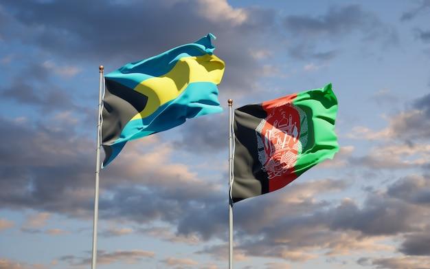 Schöne nationalstaatsflaggen von afghanistan und bahamas