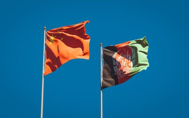 Schöne nationalstaatsflaggen von afghanistan und china