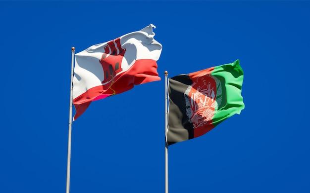 Schöne nationalstaatsflaggen von afghanistan und gibraltar