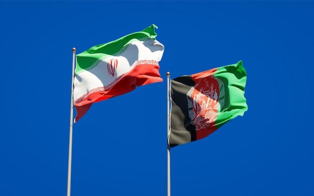 Schöne nationalstaatsflaggen von afghanistan und iran
