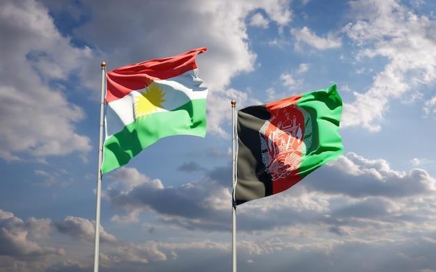 Schöne nationalstaatsflaggen von afghanistan und kurdistan