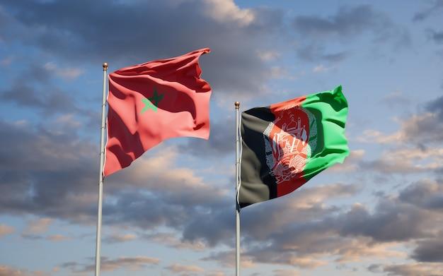 Schöne nationalstaatsflaggen von afghanistan und marokko