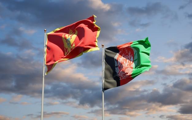 Schöne nationalstaatsflaggen von afghanistan und montenegro