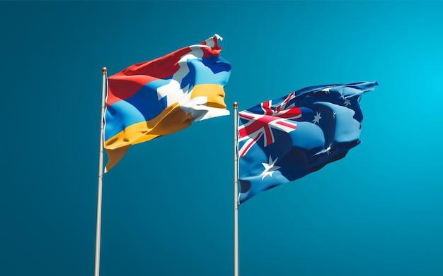 Schöne nationalstaatsflaggen von australien und artsakh zusammen