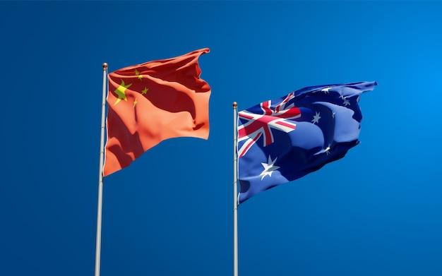 Schöne nationalstaatsflaggen von australien und china zusammen