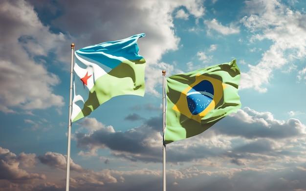 Schöne nationalstaatsflaggen von dschibuti und brasilien zusammen auf blauem himmel