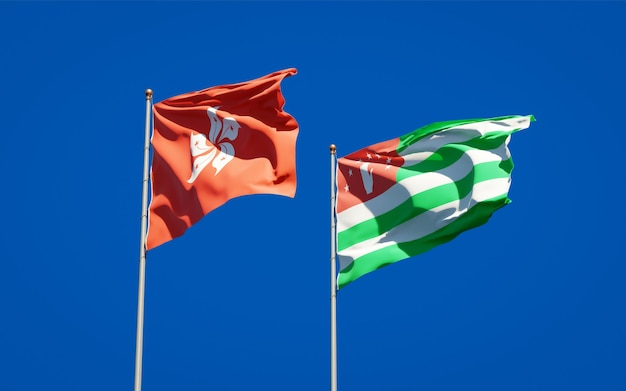 Schöne nationalstaatsflaggen von hong kong hk und abchasien zusammen
