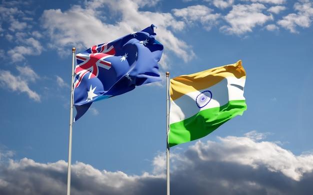 Schöne nationalstaatsflaggen von indien und australien zusammen