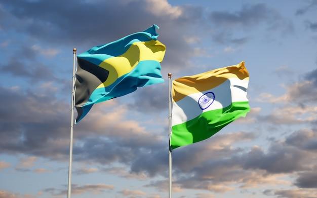 Schöne nationalstaatsflaggen von indien und bahamas zusammen
