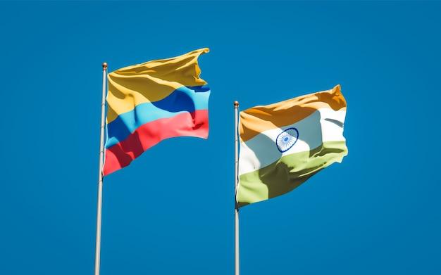 Schöne nationalstaatsflaggen von indien und kolumbien zusammen