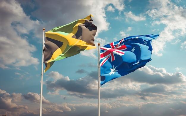 Schöne nationalstaatsflaggen von jamaika und australien zusammen