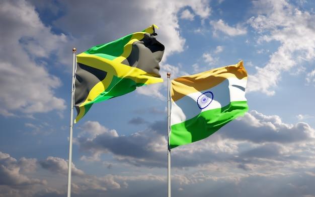 Schöne nationalstaatsflaggen von jamaika und indien zusammen
