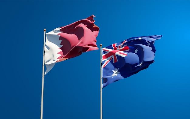 Schöne nationalstaatsflaggen von katar und australien zusammen