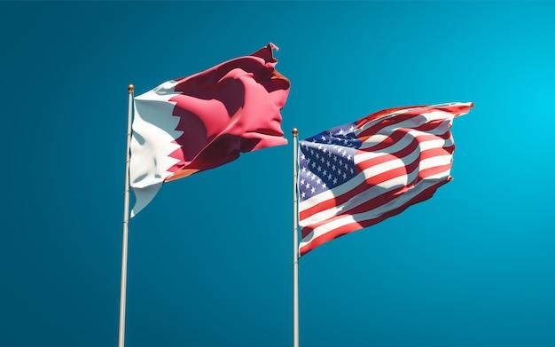 Schöne nationalstaatsflaggen von katar und usa zusammen