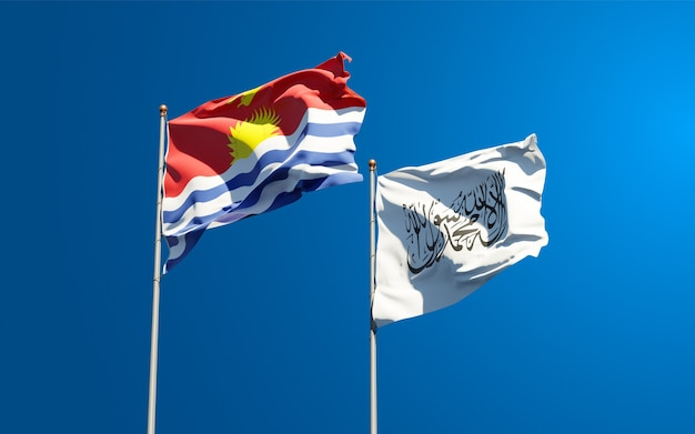 Schöne nationalstaatsflaggen von kiribati und taliban zusammen am himmel. 3d-grafikkonzept.