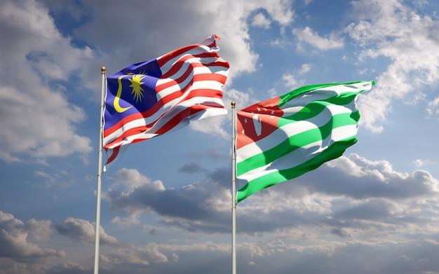 Schöne nationalstaatsflaggen von malaysia und abchasien zusammen