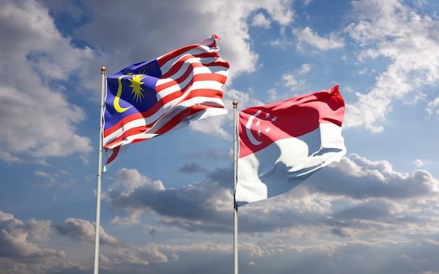 Schöne nationalstaatsflaggen von malaysia und singapur zusammen