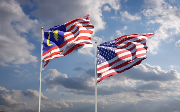 Schöne nationalstaatsflaggen von malaysia und usa zusammen