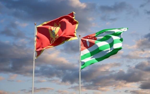 Schöne nationalstaatsflaggen von montenegro und abchasien zusammen