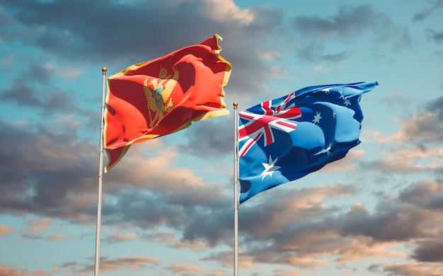 Schöne nationalstaatsflaggen von montenegro und australien zusammen