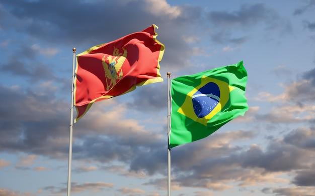 Schöne nationalstaatsflaggen von montenegro und brasilien zusammen auf blauem himmel