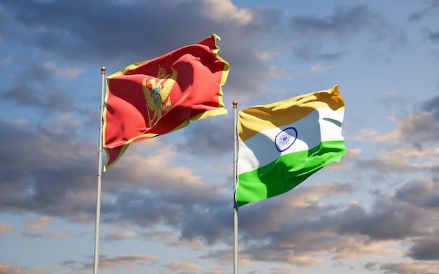 Schöne nationalstaatsflaggen von montenegro und indien zusammen
