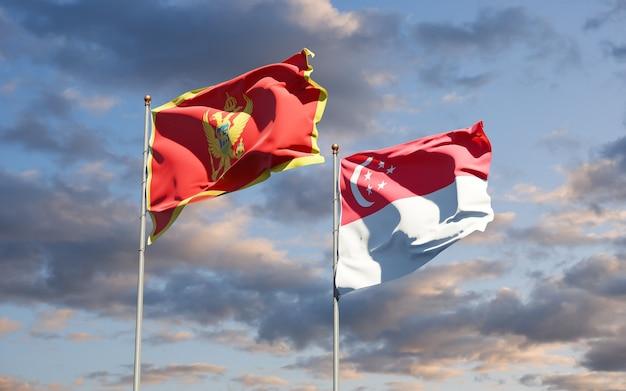 Schöne nationalstaatsflaggen von montenegro und singapur zusammen