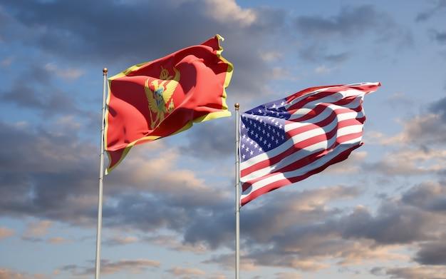 Schöne nationalstaatsflaggen von montenegro und usa zusammen
