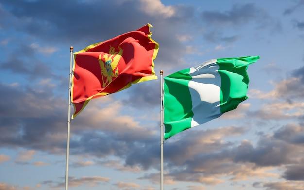 Schöne nationalstaatsflaggen von montenegro und von nigeria zusammen auf blauem himmel