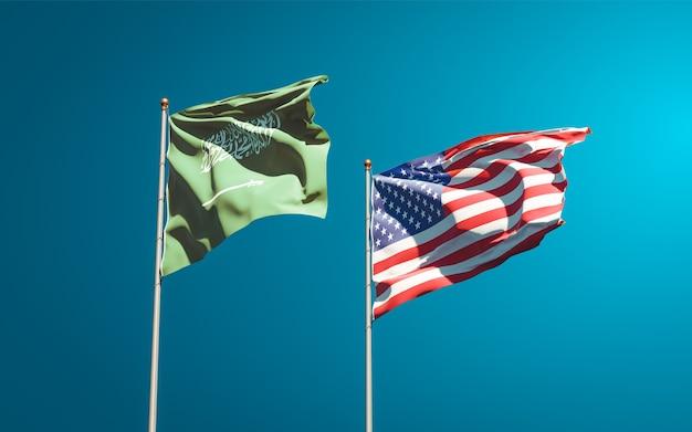 Schöne nationalstaatsflaggen von saudi-arabien und den usa zusammen