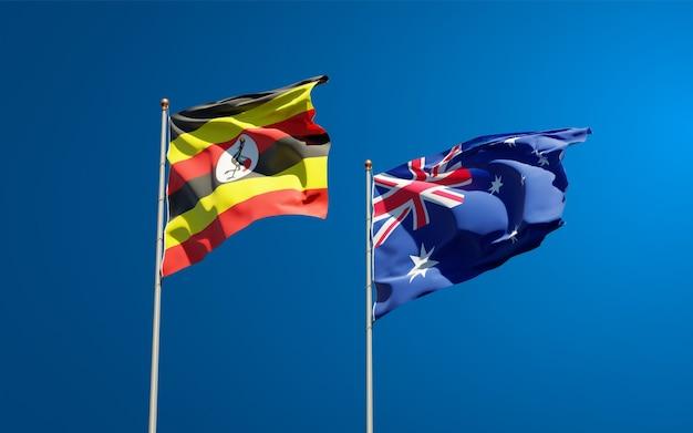 Schöne nationalstaatsflaggen von uganda und australien zusammen