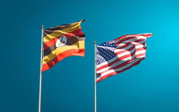 Schöne nationalstaatsflaggen von uganda und usa zusammen