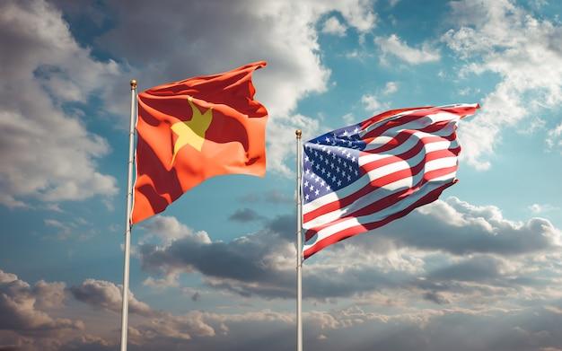 Schöne nationalstaatsflaggen von vietnam und den usa zusammen