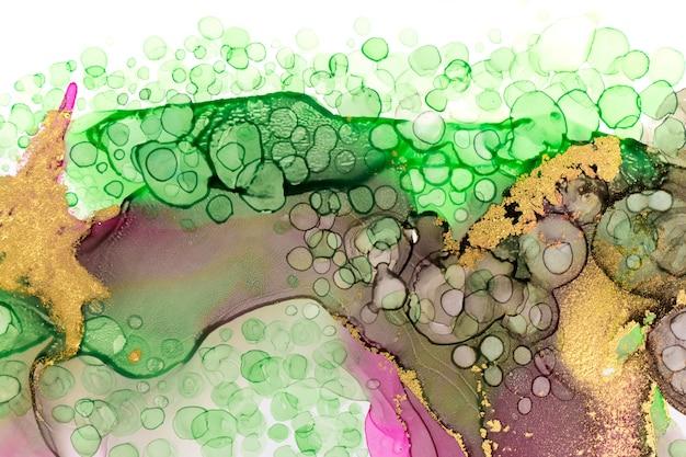 Schöne natürliche farbe aquarell tropfen muster makro waschen zeichnung gold textur