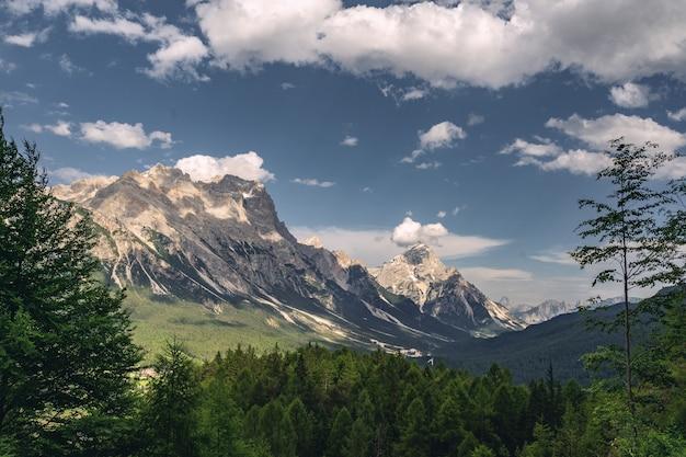 Schöne natur mit grünem wald und felsigem berg