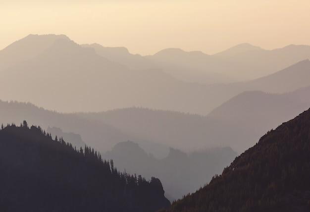 Schöne naturlandschaft - neblige bergsilhouette