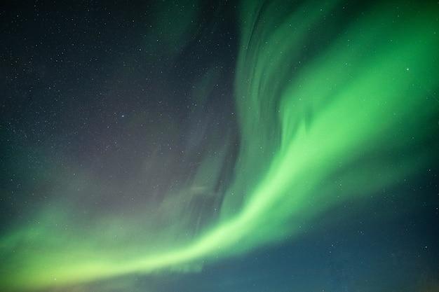 Schöne nordlichter, aurora borealis, das auf nächtlichen himmel tanzt