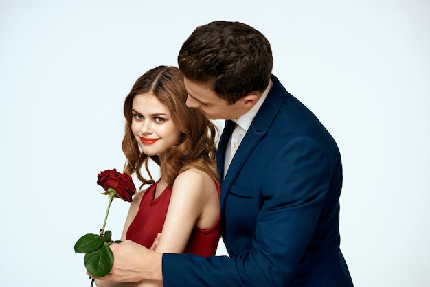 Schöne paar charme beziehung romantik rosen luxus liebe licht raum.